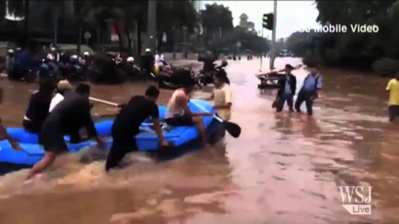 Heavy Rain Leaves Downtown Jakarta Flooded