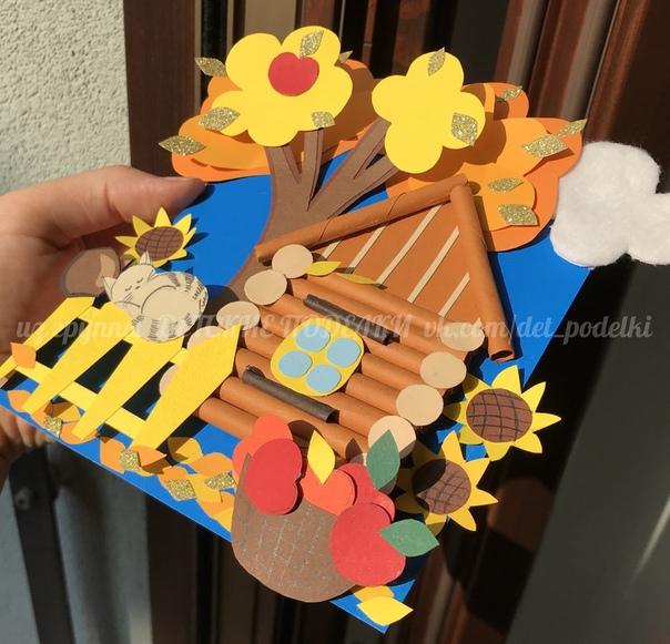Осенний вариант аппликации «Домик в деревушке» Решила переодеть мой домик в золотую осень. Если вам понравится, сделаю и зимний