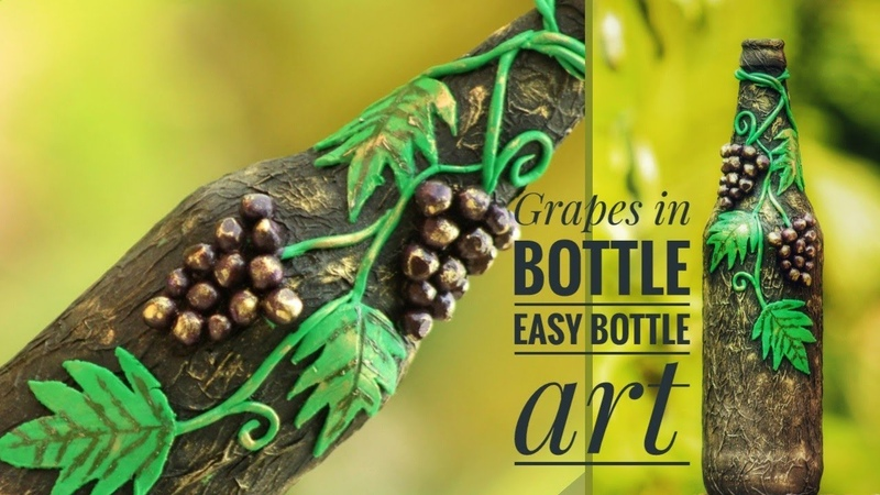 Bottle art Easy begginers bottle art Bottle craft Clay bottle art Easy bottle art English