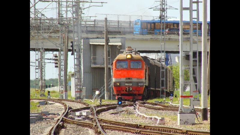Тепловоз 2М62 1218 с грузовым поездом