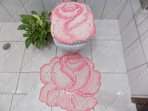 Cidinha Croche Jogo De Banheiro Em Croche Rosas Tapete Pia Pé Vaso Passo A Passo Parte 1 3