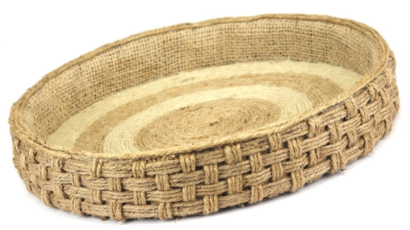 DIY Wicker Serving Tray with Jute Ropes and Cardboard Jute Rope Tray