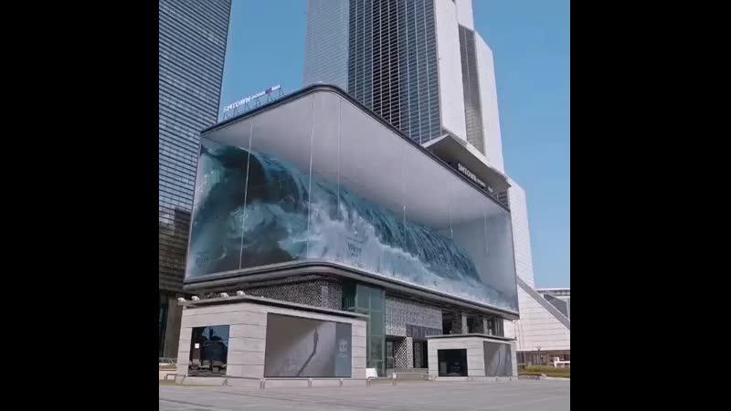 Public art _Wave_ on a digital screen board in Korea by @dstrictholdings ( 640 X 640 ).mp4
