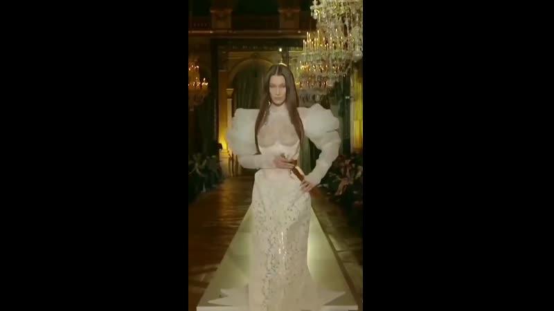 Bella Hadid See Trough runway at FW20 fashion show in Paris