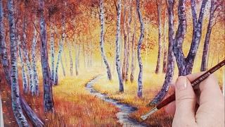 Autumn Forest Path Landscape Acrylic Painting LIVE Tutorial