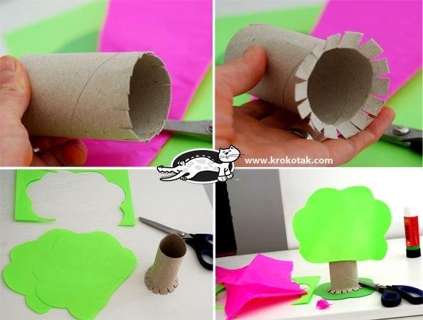 ОБЪЕМНАЯ ПОДЕЛКА ВЕСЕННИЕ ДЕРЕВЬЯ Материалы: 1. трубочка картонная (можно сделать самим) 2. Бумага зеленая и розовая (можно любого другого яркого цвета) Нужно вырезать крону дерева (2