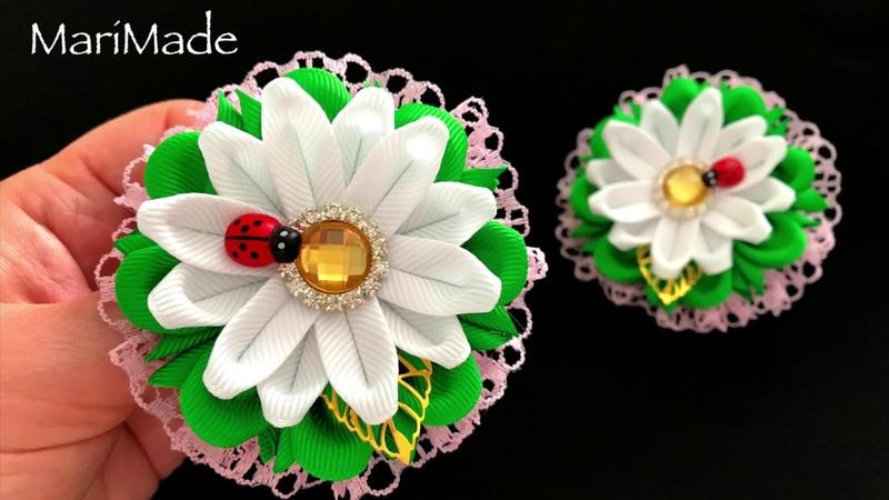 Резинки Ромашки Канзаши МК Kanzashi Ribbon Flower Tutorial