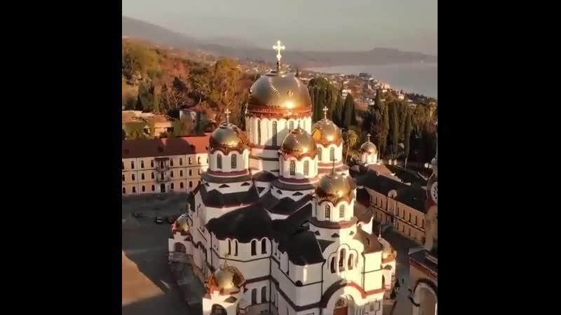 Новоафонский монастырь в Абхазии с воздуха