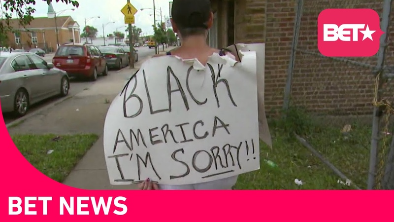 Black America I'm Sorry How One White Woman's Public Sign Stirred Chicago