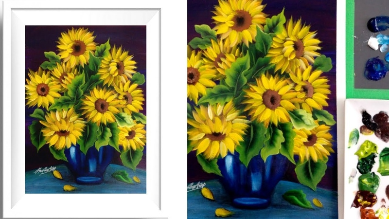Easy Acrylic Painting Sunflower Acrylics Relaxing Demonstration Satisfying Demo
