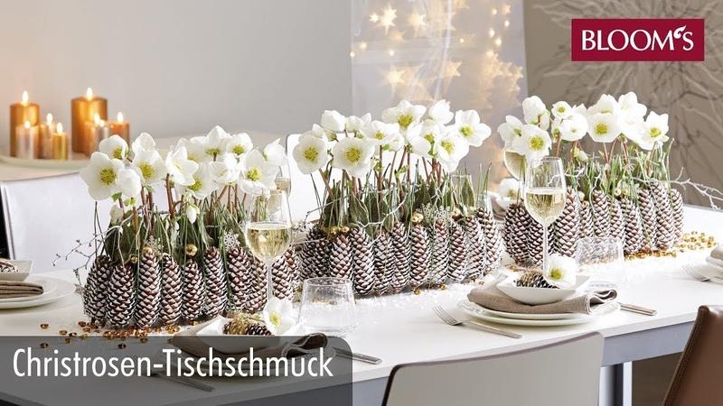 Christrosen Tischschmuck Weihnachtsdeko christmas decoration BLOOM s Floristik