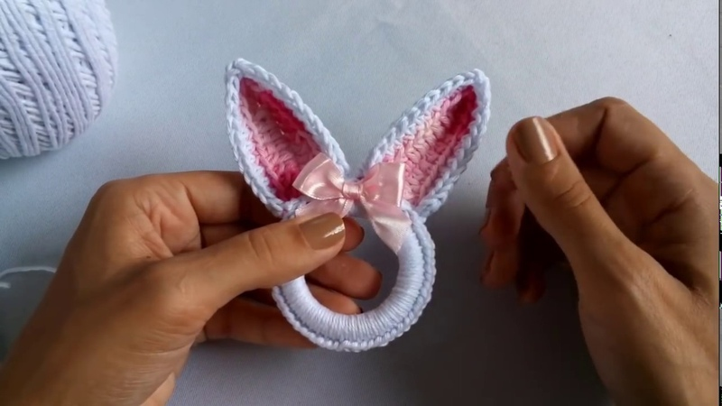 Porta Guardanapo em crochê Páscoa (orelha de coelho)