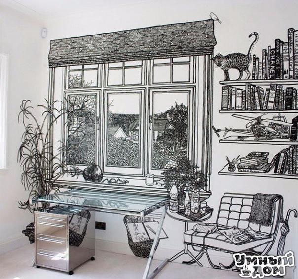 Рисунки маркером вместо обоев и недостающих предметов мебели Гениально! Работа британской художницы Шарлотт Манн. хозяюшки делают дом уютным! Каждый