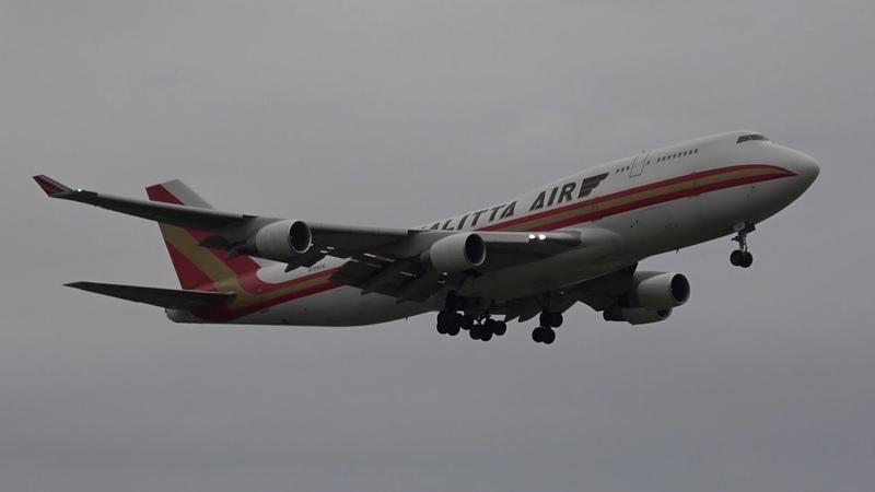 Plane Spotting LEJ Boeing 747 4B5 BCF N709CK landing at Leipzig Halle Airport Rwy 08R