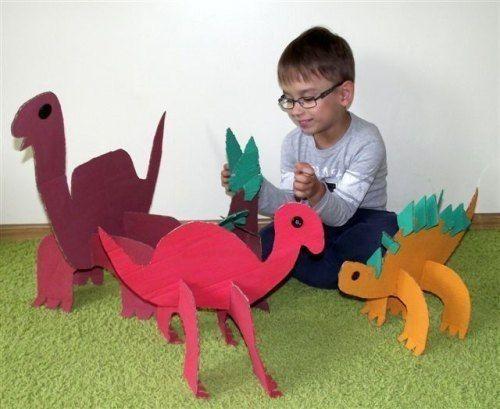 БОЛЬШИЕ КАРТОННЫЕ ДИНОЗАВРЫ Опытные родители знают, что нельзя выбрасывать гофрокартон! Иначе из чего ребенок соорудит этого симпатичного и невероятно простого в изготовлении динозаврика На