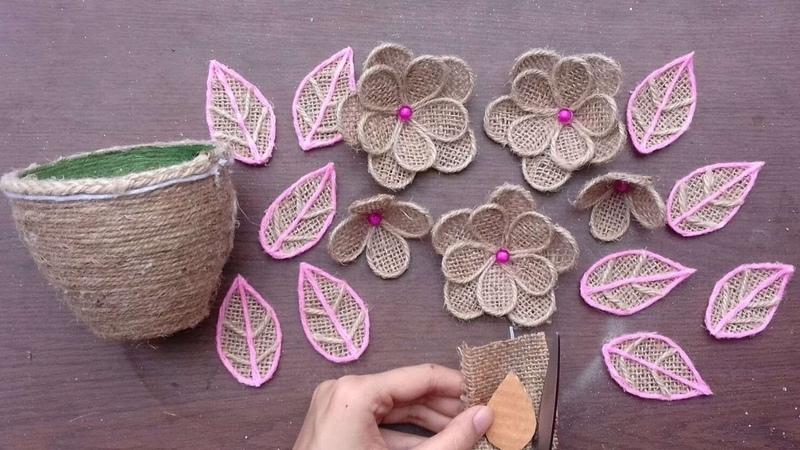 DIY New Room Decor Jute Burlap Craft Ideas    Handmade Stylish Jute Flower With Vase