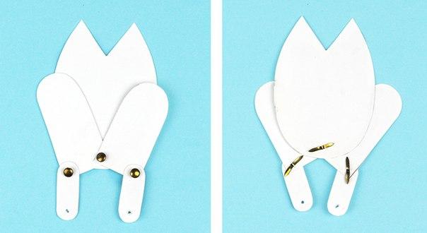 ЗВЕРЯТКИ ИГРАЮТ В ПРЯТКИ Малыши обожают все виды пряток. Для изготовления этих несложных игрушек нужна плотная бумага или картон, 4 металлические заклепки с усиками и ножницы. Заклёпки можно