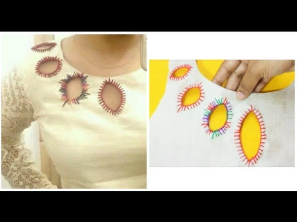 Beautiful Boat Neckline With Hand Embroidery Design Making (DIY)