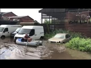 Последствия сильного дождя в Калининграде.