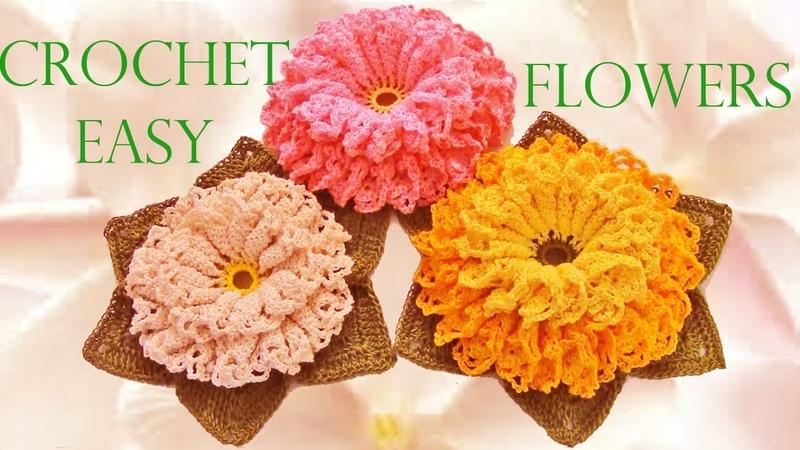Como tejer fácil y rápido flores con hojas en una sola tira Make Knitting crochet easy