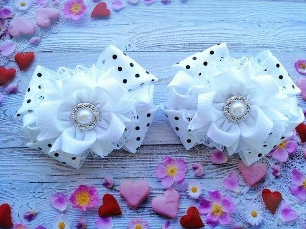 Красивые бантики из репса и кружева МК Канзаши / Beautiful bows of ribbons /Lindos laços de fitas