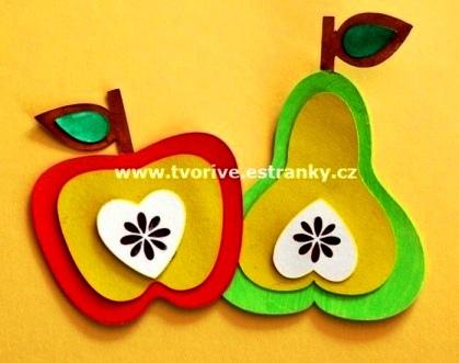 Поделка фрукты из бумаги Такие поделки яблока и груши можно сделать с младшими школьниками из бумаги.Вырезаем контур яблока или груши с листочком из красного или зеленого картона. Можно вырезать