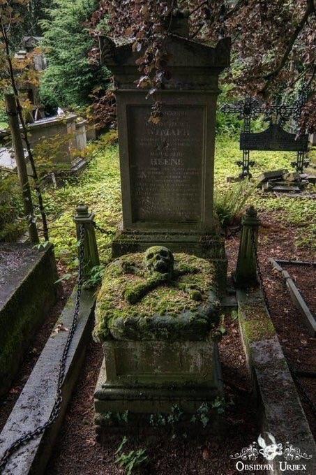 Покрытый мхом череп и скрещенные кости на могиле на кладбище Брюгге в Бельгии