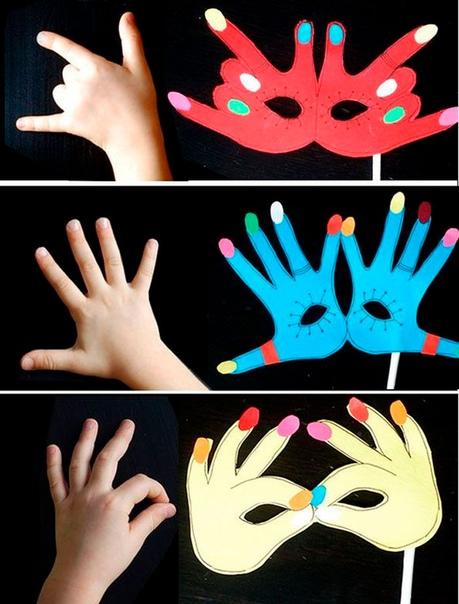 Маска из рук понадобится цветной картон,простой карандаш, ножницы.ход работыВыберите положение рук.Обведите их руки на картоне.Вырежьте маску.Приложите маску к лицу, отметьте прорези для глаз,