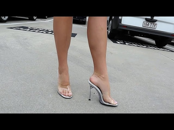 Review Walking Single Sole Fabulicious Gala 01 Clear Slide Mule Body Fitness Comp High Heel Shoes