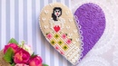 Cookie Gift. Purple Cross Stitch Heart Cookie 💜