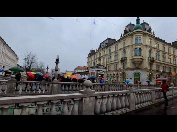 Ljubljana, Slovenia (City center, rainy day) Walking Travel Tours   4K60
