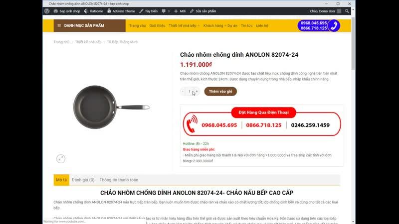 Tải Theme WordPress Web bán dụng cụ nhà bếp