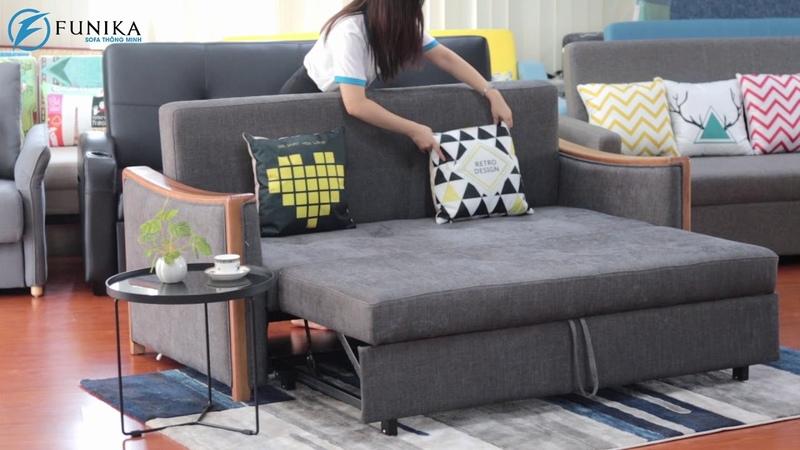 Sofa giường 928V tay gỗ kiểu mới sang trọng, sạch sẽ