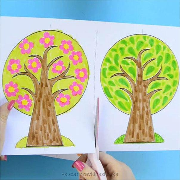 ЧЕТЫРЕ СЕЗОНА  Эта поделка из бумаги поможет малышам изучить времена года.