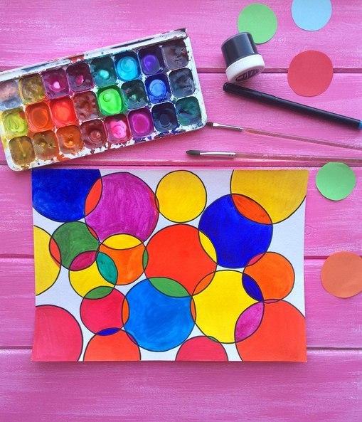 ТВОРЧЕСТВО С ДЕТЬМИ Релакс-раскраска Занятие для усидчивых, развивает аккуратность и фантазию Для работы вам понадобятся: - циркуль - краски - удобные кисти (лучше плотные синтетические) -