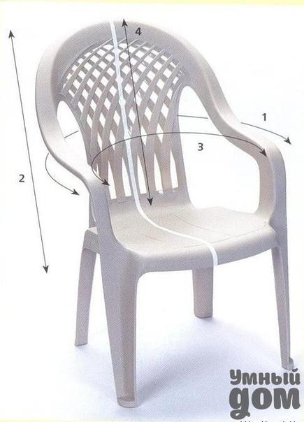 Шьем чехол для пластмассового стула Вот такой стул будем скрывать. Стрелочками указаны основные размеры стула, которые вы должны снять для приблизительного расчета ткани.Начинаем работу со