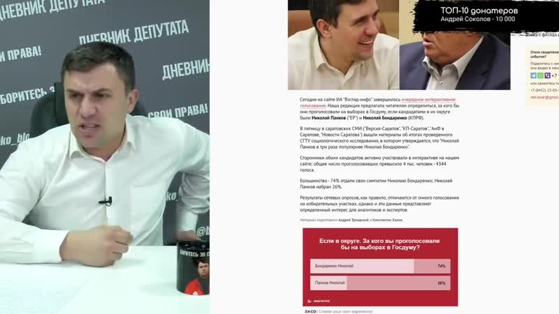 ♐У Николая Бондаренко оказался низкий рейтинг перед выборами♐