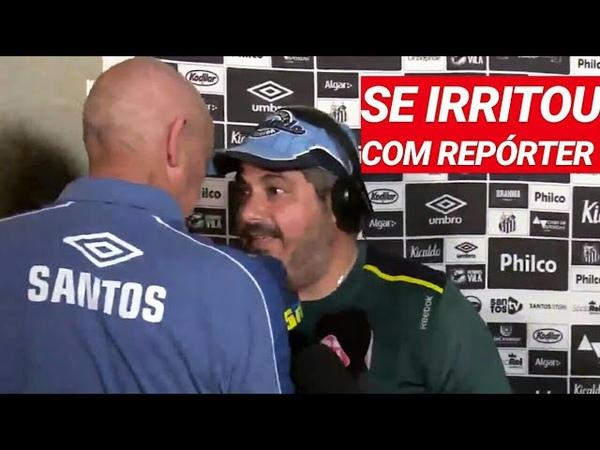 Técnico do Santos discute com repórteres após ser comparado a Sampaoli