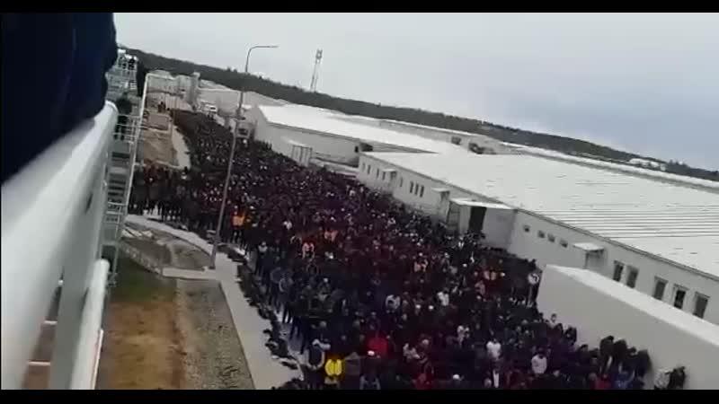 Массовая молитва мусульман, прошедшая на Амурском газоперерабатывающем заводе (ГПЗ)