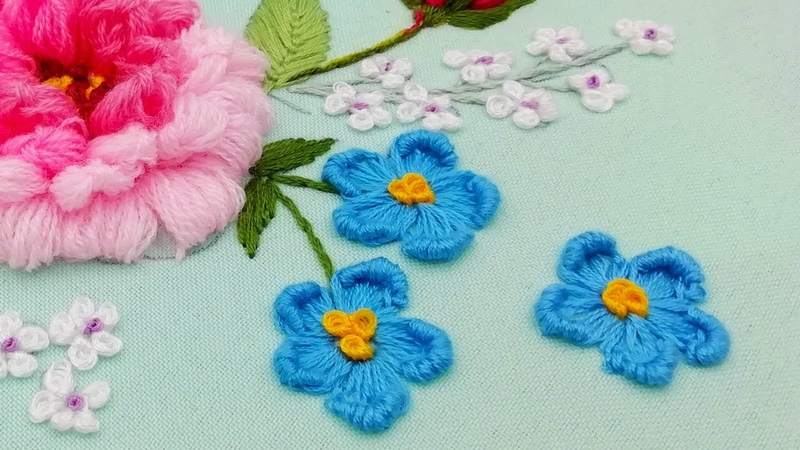 Hand Embroidery Blue flowers rococo buttonhole stitch