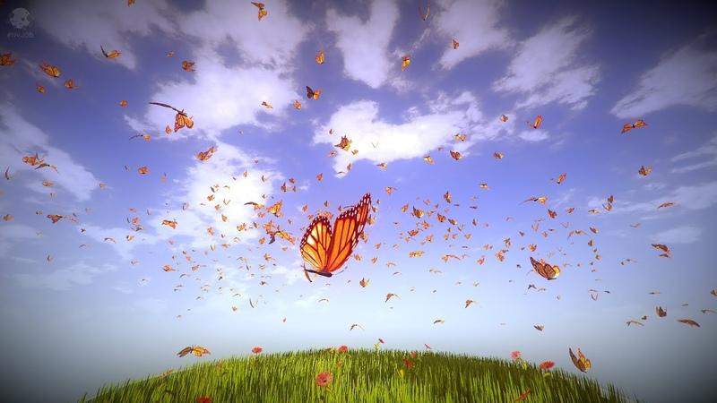 NVJOB Simple Boids 500 бабочек разделенных на 10 стай